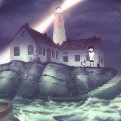 A young boy is left at a lighthouse during a storm